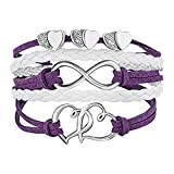 Peach Heart Leather Braided Fashion Lady Bracelet, Retro Double Heart Endless Rope Wristband Bracelet (Purple)