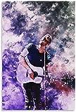 Pintura De La Lona 60x90cm Sin Marco Coldplay Rock Band Guitarrista Concierto Acuarela Arte pictórico Sala de Estar Bar cafetería decoración pictórica