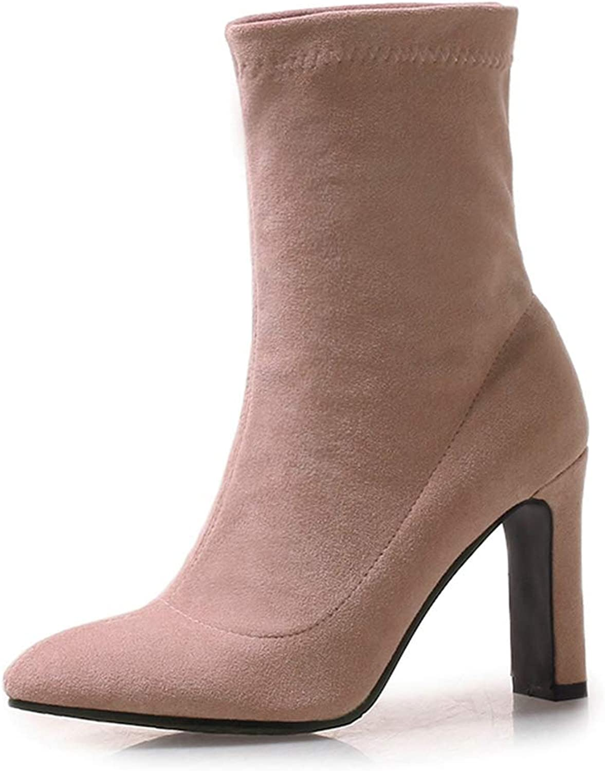 T-JULY Fashion Add Fur Warm Winter Boots Women shoes Thick Heels Solid Slip on Dress Ankle High Boots shoes
