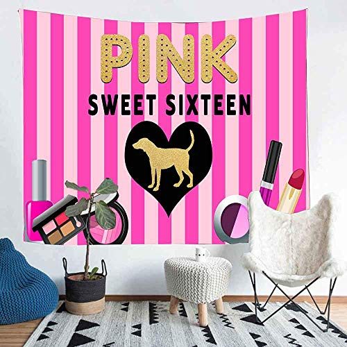 Pink Sweet Sixteen Gruß Tapisserie Foto Hintergr& Wanddekoration Breite Wandbehang für Schlafzimmer Wohnzimmer Wohnheim SILS1274
