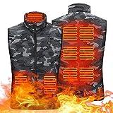 BEP Chaleco calefactor eléctrico con 5 almohadillas de calor, calentador de carga USB, chaleco de camuflaje para acampar al aire libre, senderismo y pesca, cuello alto, zona 9, S