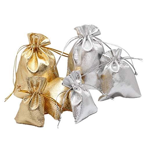 KANKOO Bolsa de Regalo con Cordón Bolsas Arroz Boda Navidad Accesorio Decoración de Bolsas de Embalaje Bolsas de Muselina Bolsa de Regalo Gold,Mix