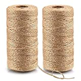 aonat spago di iuta naturale 2 confezioni da 100 metri corda da giardino corda da imballaggio corda di canapa da 2 mm a 3 strati, corda da giardino per decorazioni e imballaggi artigianali