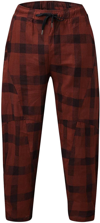 Men's Casual Elastic Waist Baggy Pants Wide-Leg Loose Sweatpants Plaid Hippie Loose Fit Trousers with Pocket