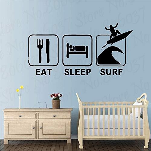 Eat sleep surf tatuajes de pared surf deportes calcomanías pegatinas de tabla de surf decoración para niños dormitorio guardería papel tapiz arte A2 74x42cm