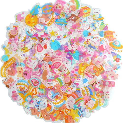 Kawaii Mini Animal Scrapbook Stickers,160PC PET Transparent DIY Decorative Stickers,Resin Mold Filled Decorative Stickers,4 Packs Cute Animal Themes Stickers for Scrapbooking,DIY Crafts, Laptops