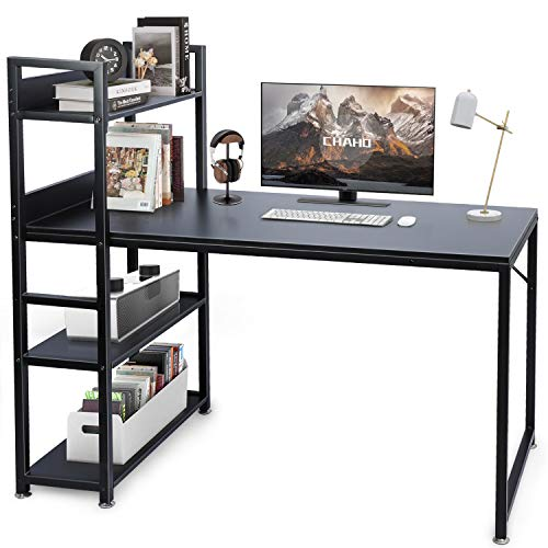 CHAHO Computer Desk with Shelves,Writing Desk Reversible Study Table Office Corner Desk with Shelves Home Office Desk with Bookshelf Easy Assemble (47 Inch) (Natural)