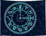 Amiiba Constellation - Tapiz de pared para colgar en la pared, diseño hippie, color azul claro psicodélico, decoración del hogar para dormitorio, sala de estar (constelación, L - 200,7 x 149,9 cm)