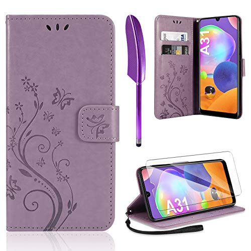 AROYI Lederhülle Samsung Galaxy A31 Hülle + HD Schutzfolie, Samsung Galaxy A31 Flip Wallet Handyhülle PU Leder Tasche Hülle Kartensteckplätzen Schutzhülle für Samsung Galaxy A31 Hellviolett