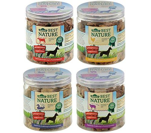 Dehner Best Nature Hundesnack-Mix, Rinderlungen, Hühnerherzen, Lammlungen und Entenhälse, 4 Dosen (250 g)