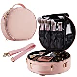 Round Makeup Bag Portable Travel Makeup Train Case PU Leather Cosmetic Storage Organizer for Girl Cosmetic Make Up Tools...