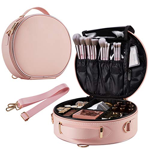 Round Makeup Bag for Lady Portable Travel Makeup Train Case PU Leather Large Capacity with Adjustable Dividers Cosmetic Storage Organizer for Girl and women Cosmetic Make Up Tools Toiletry Jewelry Digital Accessories - Pink