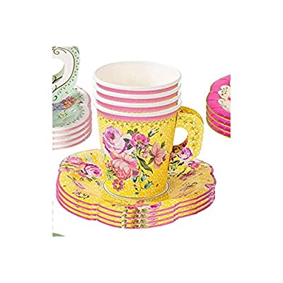 Biasdo Paper Tea Party Decorations, 24 Drink Cups with Handles and Matching Dessert Saucer Plates for Baby and Bridal Shower Decor, Birthday Party, Event Hosting, Bright Yellow