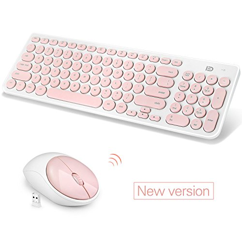 Fashion Wireless Keyboard and Mouse Combo, FD iK6630 2.4GHz Cordless Cute Round Key Smart Power-Saving Ultra Slim Combo for Laptop, Computer and Mac (Salmon Pink & White)