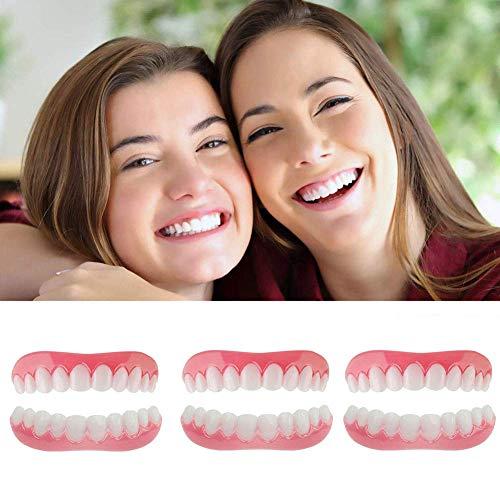 XXZ Zahnersatz Provisorischer Veneers Kosmetische Zähne für Sofortiges Lächeln Extra Dünn Provisorischer Zahnprothese Oben und Unten Einfache Abnutzung,3 Sets