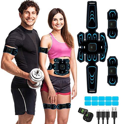 MATEHOM Elettrostimolatore per Addominali Elettrostimolatore Muscolare, Ricarica USB ABS Trainer/Toner per Addome/Braccio/Vita/Gambe Home Gym, 6 modalit¨¤ e 10 Livelli di Intensit¨¤