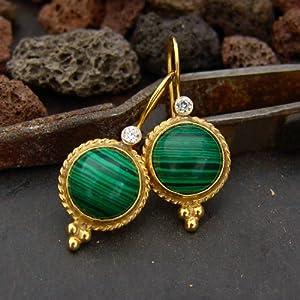 Minimalist Malachite 24K Gold Plated Turkish Dangle Earrings