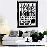 chaded Wall Decal Sticker Art Mural Home Decor Table Tennis Doubles Backhand Dead Ball Smash Drop Shot for Gym...