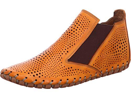 Gemini Damen Stiefeletten Chelsea Boots Leder 031196-02, Größe:37 EU, Farbe:Orange