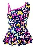 IKALI Mädchen Einteiliger Badeanzug, Sommer Strand Bademode Badeanzug für Kinder/Kleinkinder, Schmetterling, 7-8Jahre