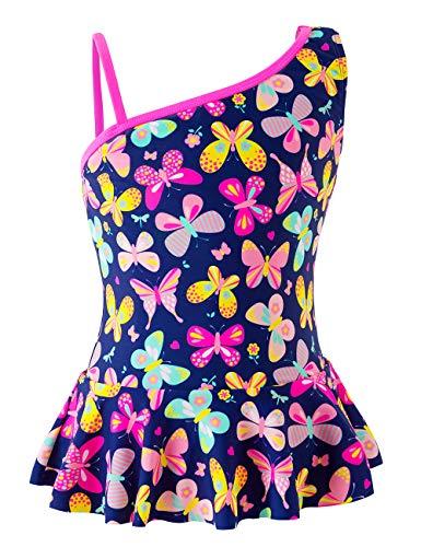 IKALI Traje de baño de una pieza para niñas, traje de baño tropical con volantes florales Morado Morado ( 5-6 Años