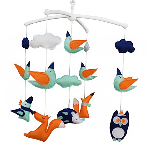 Creative bébé jouets cadeau d'anniversaire décor de chambre d'enfant fait maison drôle nouveau-né berceau musical bébé berceau mobile pour 0-2 ans (zoo)