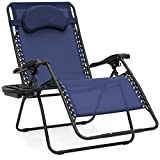 Best Choice Products Oversized Folding Mesh Zero Gravity Recliner Chair w/Cup Holder Accessory Tray and Removable Pillow, Navy