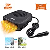 ANCROWN Car Heater, 12V 200W Portable Defroster Fan Auto Fast Heating Windshield, 2 in 1 Windscreen Defogger with Heating/Cooling Function and Movable Handle (Black)