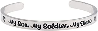 """Army Mom Bracelet My Son My Soldier My Hero Navy Air Force Military Jewelry Stainless Steel Polished 1/4""""6"""