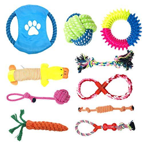 TIYUPA Juego de Juguetes para Perros, 10 Piezas Juguetes de Cuerda para Perros, Algodón Cuerda Juguete para Cachorros para Limpiar los Dientes Adecuado para Pequeño y Mediano