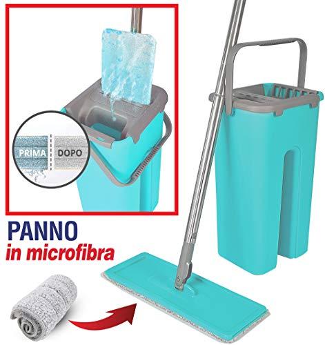 MAURY'S Flat Mop Lavapavimenti Automatico E Salvaspazio Secchio Auto Detergente a Doppio Scomparto (Flat Mop Completo)