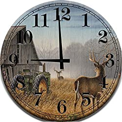 Large Wood Wall Clock Old Barn White Tail Deer Big Buck Antlers Green Farm Tractor Wood Wall Art Home Décor