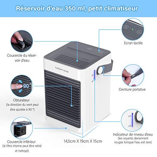 Manwe - Raffreddatore d'aria portatile, mini condizionatore e umidificatore, piccolo depuratore evaporativo, 3 velocità della ventola, ventola di raffreddamento per casa, camera da letto