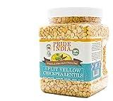 Pride Of India - Split Yellow Lentejas garbanzo - 1,5 lbs (680 g) Jar - dieta altamente nutritiva y básico: contiene fibra y proteína por porción (16 porciones) - Excelente valor