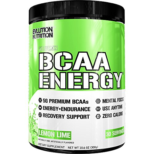 Evlution Nutrition BCAA Energy - High Performance, Energizing Amino Acid Supplement for Muscle Building, Recovery, and Endurance, Pre, Post, or Intra Workout, Anytime Energy (Lemon Lime, 30 Servings)