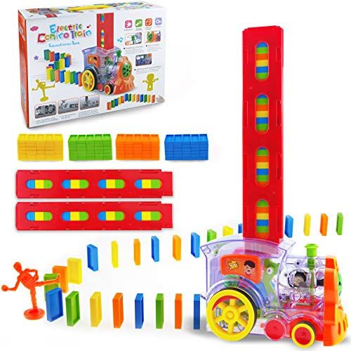 Domino Train 120PCS Domino Blocks Set Building and Stacking Toy Blocks Domino Set for 37 Year Old Toys Boys Girls Creative Gifts for Kids