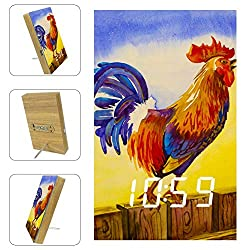 Shiiny Rooster Crowing Digital Alarm Clock, Electronic LED Time Display, Temperature Detect, Electric Clocks for Bedroom, Bedside