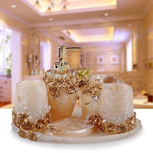 HJKY badkameraccessoireset wassen badkamer vijf sets van Europese mode eenvoudig badkamer bruidsjurk in de bovenste verdieping High - End - Gift - Box