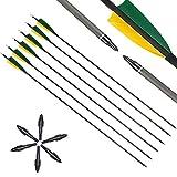 VOMI 6 Paquetes Tiro con Arco 32 Inch Flecha de Carbono Caza Flechas Spine 400 Exterior Práctica de Tiro con Arco con 4 Inch Forma de Escudo Reales Pluma para Arco Recurvo Tradicional Espiral Flecha
