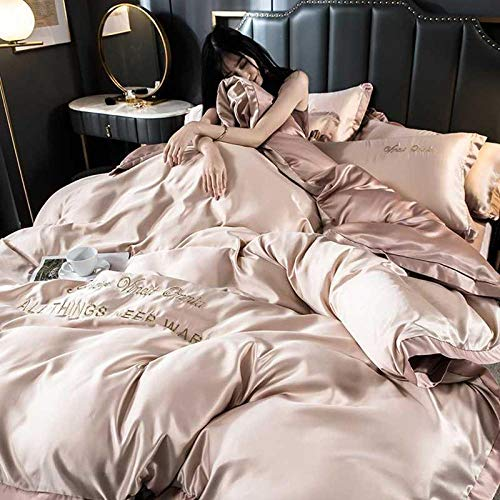 geek cook Four-piece bed,Light ice silk four-piece girl heart princess style silk bed sheet duvet cover-Pink Jade Champagne_2.0m bed four-piece suit suitable for 220x240