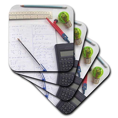 3dRose Mathematik Fotografie – Mathematik Gleichungen Taschenrechner – für Mathematik Nerd Lehrer Geek Tutor Schüler – weiche Untersetzer, Set von 8 (CST_113081_2)