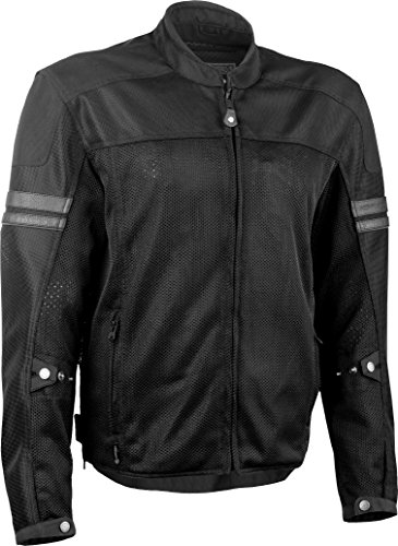 Highway 21 Turbine Mesh Men's Motorcycle Jacket W/Waterproof Liner/Reflective Piping Black Size 4XL