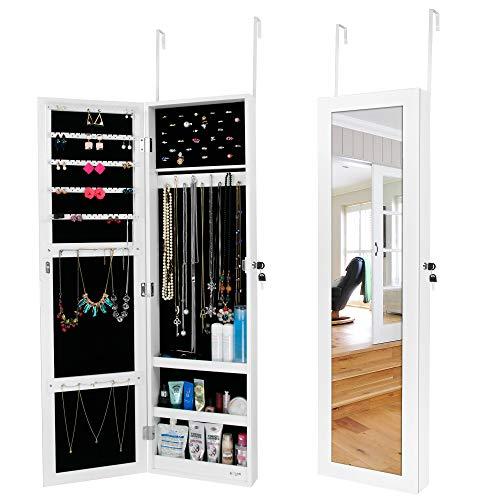 Ezigoo Schmuckschrank mit Spiegel – Schmuckregal zum Aufhängen an Wänden oder Türen