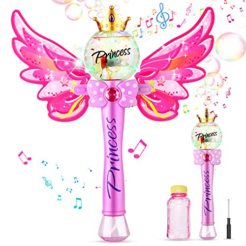 Ucradle Bubble Machine, Automatic Bubble Wand for Kids Blower Magic Fairy Stick Bubble Maker with Musical Light, 1000+ Colorful Bubbles Per Minute with Bottles of Solution, Party Toys for 3+ Girl