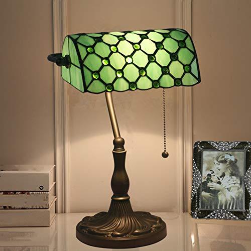 Lámpara de escritorio de estilo Tiffany/Lámpara de banqueros/lámpara de oficina Sombra de cristal blanca, interruptor de pull y bombilla de filamento LED Base de aleación de zinc,C