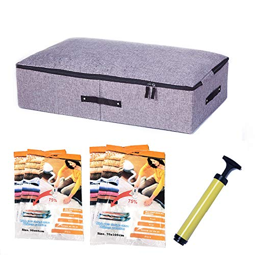 Fantastic Ryan Collapsible Underbed Storage Bin Orgainzer Container with Vacuum Space Saver Bags Best for Seasonal Clothing and Bedding