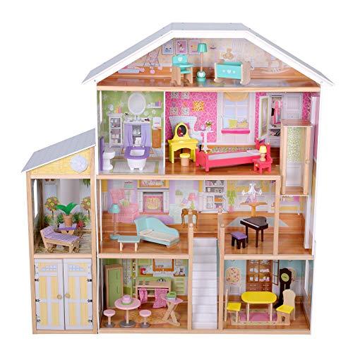 Infantastic® Casa delle Bambole in Legno - 119 x 31,6 x 123,4 cm, 4 Livelli di Gioco, 29 Accessori e Mobili Inclusi, 8 Stanze, per Bambole di 30 cm - Casetta per Bambole