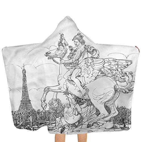 ZHSL Serviette à capuchon pour enfants Antique, France Sculpture Serviette de bain à capuchon pour enfants pour voyage, natation, camping et pique-nique 51,5 x 31,8 pouces