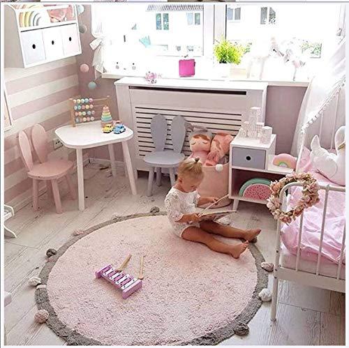 Haojie Las niñas Rosa Alfombra Redonda con la Borla Pompones, Infantil Ronda Delicado Felpa de Chenilla Alfombra, cómodo Suave de los niños Alfombra de baño
