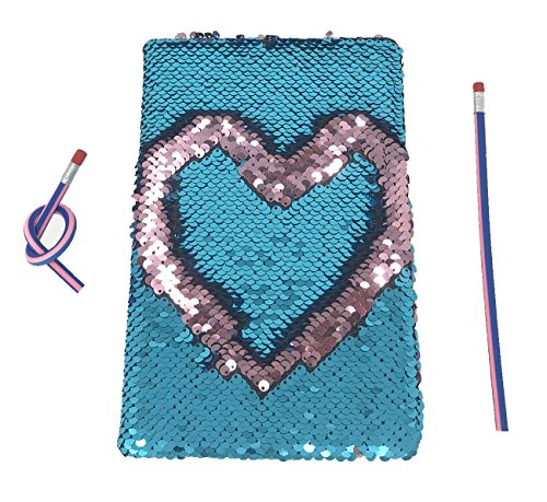 Magic Sequin Journal Reversible Sequin Office Notebook Mermaid Notepad School Diary for Girls Adults Festival Mother's Day Birthday Valentine's Day Gifts With 2 Pcs Magic Soft Pencils(Blue/Pink)